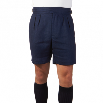 Lardini-Navy-Linen-Gurkha-Shorts-Front 2018